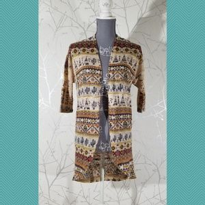 Ginger G Southwestern Print Open Front Cardigan